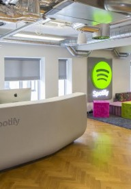 Thermoformed Corian® Spotify Reception Desk